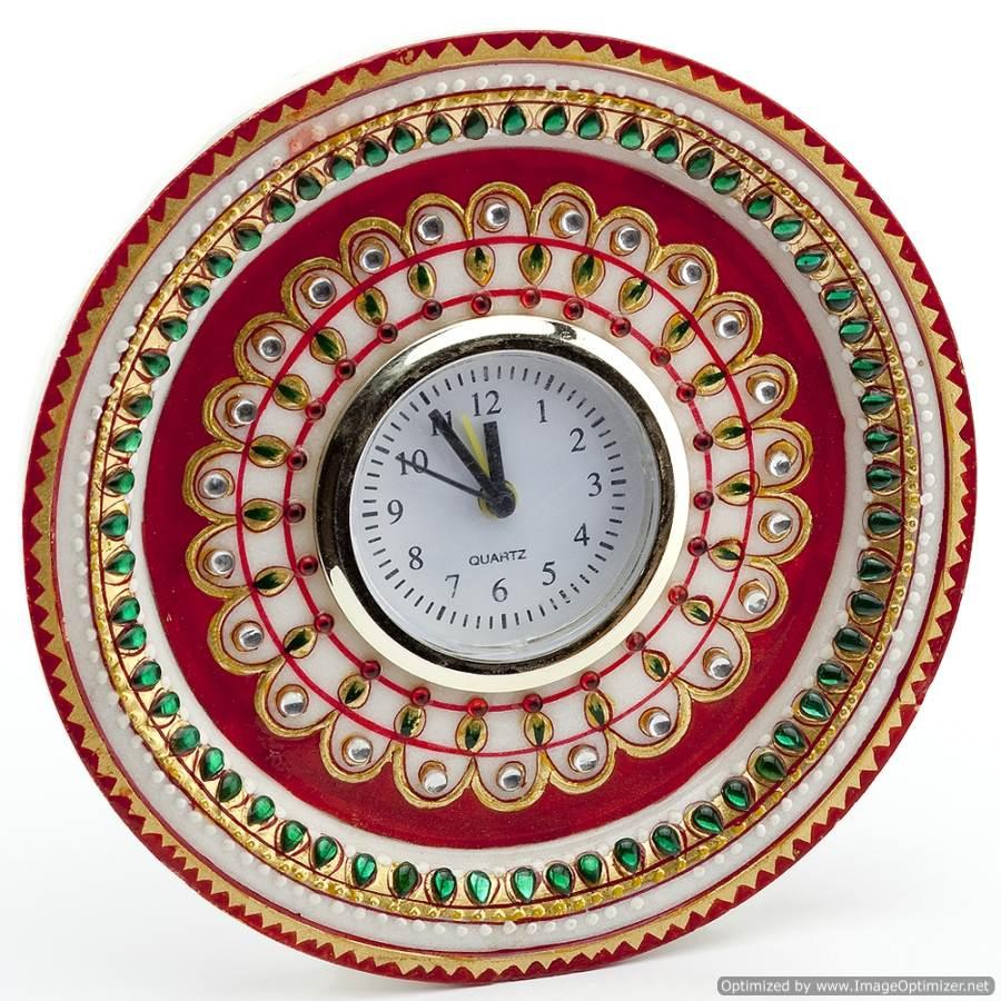 buy marvel in marble gold embossed kundan work alarm clock_52 wall clock online - Designer Wall Clocks Online