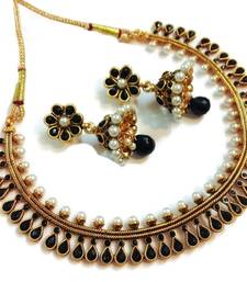 Buy Black Pearl Polki Necklace set necklace-set online