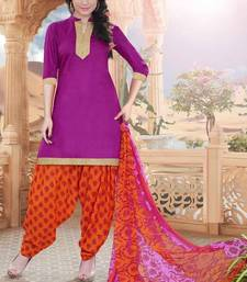 Buy Purple printed cotton unstitched salwar with dupatta dress-material online