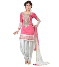 Buy Pink cotton embroidered semi stitiched salwar with dupatta eid-special-salwar-kameez online