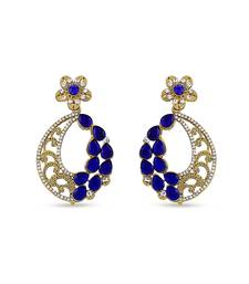 Buy Austrian Stone Blue Kundan Work Elegant Blue Design Earrings For Party Wear hoop online