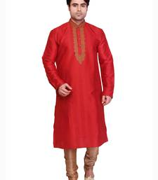 Buy red polysilk bronze poly silk embroidered kurta pyjama kurta-pajama online