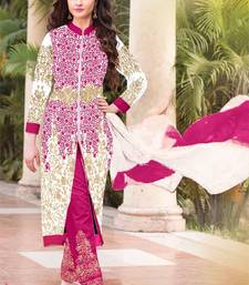Buy Whaite georgette embroidered semi stitiched salwar with dupatta pakistani-salwar-kameez online