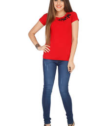 Buy Red viscose tops top online