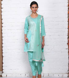Buy Sky blue cotton embroidered stitched salwar with dupatta readymade-suit online