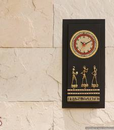 Buy An Ethnik style wooden wall clock with brass work  wall-clock online