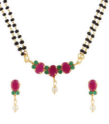 Buy Multicolor cubic zirconia yellow gold mangalsutra mangalsutra online