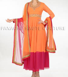 Unique orange & rose color net suit with zari work shop online