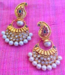 Buy Elegant RED Green Stone  Pearl Polki Earring v40rg gifts-for-her online
