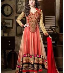 Buy red embroidred net salwar with dupatta anarkali-salwar-kameez online