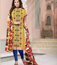 Buy Yellow embroidered chanderi cotton silk unstitched salwar with dupatta dress-material online