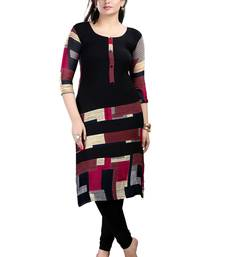 Buy Black Faux Crepe printed kurti kurtas-and-kurti online