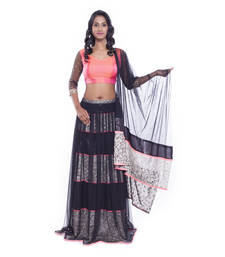 Buy Black lace work net stitched lehenga choli readymade-lehenga-choli online