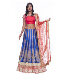Buy Blue embroidered silk stitched lehenga choli readymade-lehenga-choli online