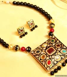 Buy Black Onyx Navratan Necklace Set necklace-set online