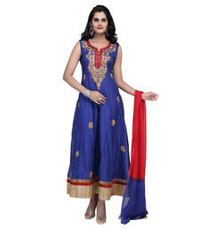 Buy Royal blue net embroidered stitched salwar with dupatta readymade-suit online