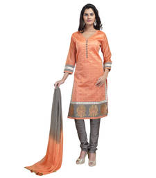 Buy Orange art silk embroidered stitched salwar with dupatta readymade-suit online