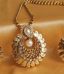 Buy GORGEOUS PEARL BALI TYPE COIN PENDANT NECKLACE SET necklace-set online