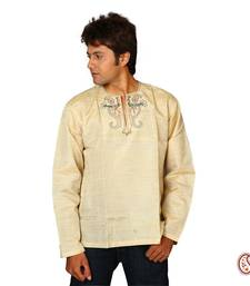 Buy Stylish Textured Cotton Kurta with Peacock Motifs men-kurta online