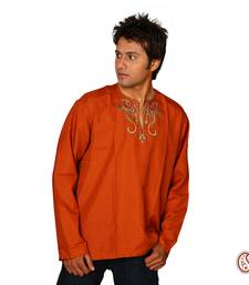 Buy Royal Cotton Kurta with Peacock Motifs men-kurta online