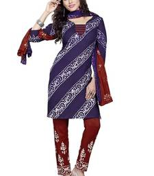 Buy blue cotton printed unstitched salwar with dupatta dress-material online