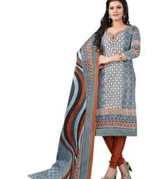 Buy Grey cotton printed unstitched salwar with dupatta dress-material online