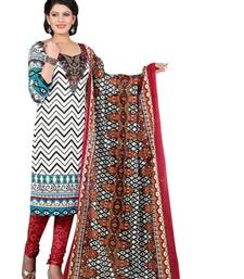 Buy White and  blue cotton printed unstitched salwar with dupatta dress-material online