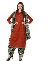 Buy Firebrick cotton printed unstitched salwar with dupatta dress-material online