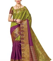 Buy mehendi woven banarasi silk saree with blouse banarasi-silk-saree online