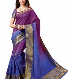 Buy purple woven fancy banarasi silk saree with blouse banarasi-silk-saree online