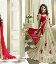 Buy Red Satin chiffon and half net designer saree bridal-saree online