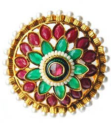 Buy Maayra Maroon Green Party Finger Ring Ring online