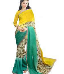 Buy Yellow and green color Georgette printed designer saree georgette-saree online