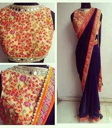 Buy blue embroidered velvet saree with blouse bollywood-saree online