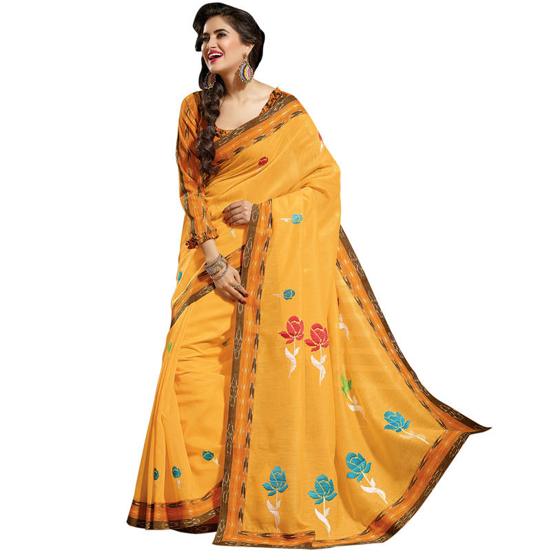 Buy Orange Embroidered Cotton Saree With Blouse Online