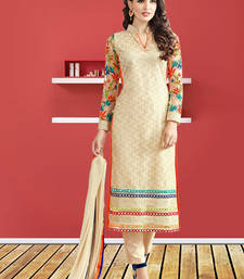 Buy Cream net embroidery and mirror work semi stitiched salwar with dupatta party-wear-salwar-kameez online