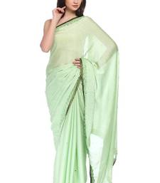 Buy Designer Light Green crepe saree with Floral border crepe-saree online