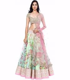 Buy Multicolour embroidered cotton unstitched lehenga choli lehenga-choli online
