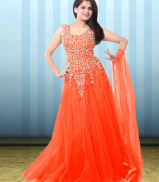 Buy Orange net embroidered semi stitiched gown party-wear-gown online