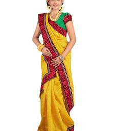 Buy Triveni Smart Yellow Cotton,Jacquard BorderWork Indian Designer PartyWear Saree cotton-saree online