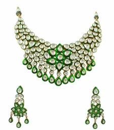 Buy Green Jadau Kundan Necklace Set Jewellery - Orniza necklace-set online