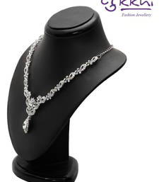 Buy Sukkhi Modern Rhodium plated AD Stone Necklace Set necklace-set online
