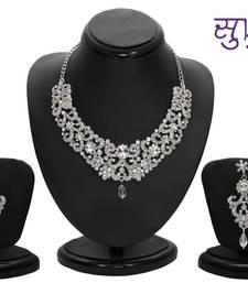 Buy Sukkhi Eye-Catchy Rhodium plated AD Stone Necklace Set necklace-set online