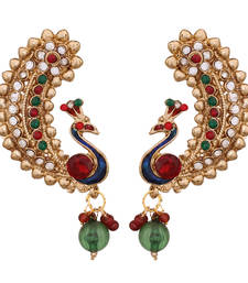 Buy Peacock inspired gold plated earring danglers-drop online