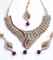 Buy indian vintage royal kundan and red stone stud necklace set bridal-set online
