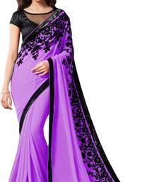purple embroidred chiffon saree with blouse shop online