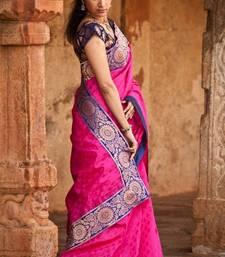 Buy Pink Purple Polkas chanderi-saree online