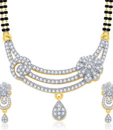 Buy Slender Gold And Rhodium Plated CZ Mangalasutra Set For Women mangalsutra online