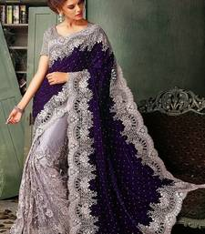 Buy purple embroidered velvet saree with blouse half-saree online