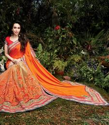 Buy orange embroidered satin saree with blouse wedding-saree online